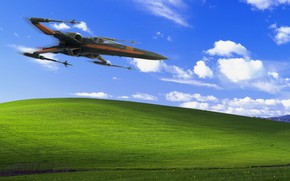 Picture Fighter, Star Wars, Hill, Landscape, Fighters, Windows XP, X-Wing, Science Fiction, X-wing, madeinkipish, Transport & …