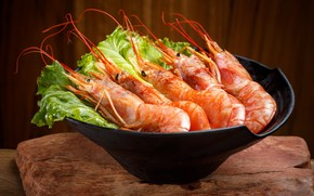 Picture greens, salad, shrimp