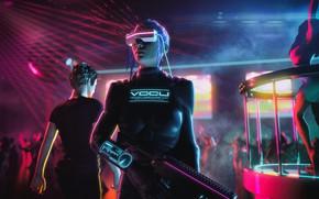 Wallpaper Girl, Music, Background, Club, Club, Cyber, Cyberpunk, Synth, Retrowave, Synthwave, New Retro Wave, Futuresynth, Sintav, ...