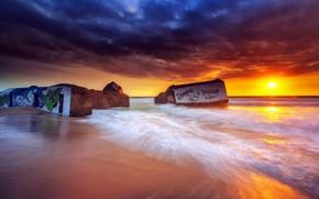 Picture sea, sunset, shore