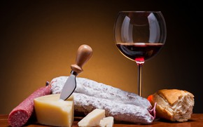 Picture table, background, wine, glass, cheese, bread, knife, sausage