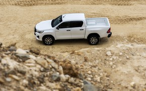 Picture white, Toyota, side view, pickup, Hilux, Special Edition, 2019