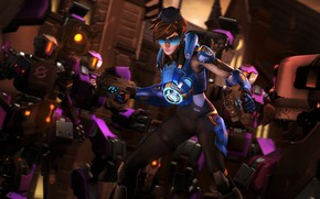 Picture girl, rendering, robots, tracer, overwatch, Lena Oxton