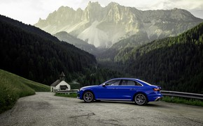 Picture blue, Audi, sedan, mountain road, Audi A4, Audi S4, 2019