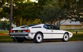 Picture white, BMW, BMW M1, E26, M1, правым боком