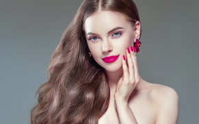 Picture flower, face, hand, makeup, hairstyle, fingers, long hair, earrings, curls, manicure, Ryabusjkina Irina
