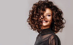 Picture girl, face, smile, makeup, hairstyle, curls