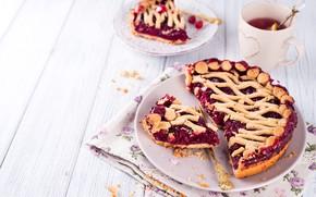 Picture cherry, tea, pie, Cup