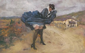 Picture 1911, Italian painter, Italian painter, Silvio Bicchi, The gust of wind, A gust of wind, …