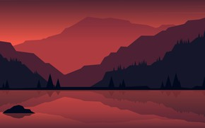 Picture forest, sunset, mountains, nature, lake
