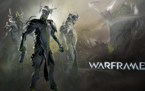 Picture weapons, the game, sparks, soldiers, armor, Warframe, view from different sides