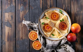 Picture orange, plate, pancakes, slices