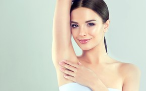 Picture look, pose, smile, background, portrait, hands, makeup, brunette, hairstyle, beauty, in white