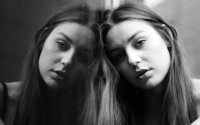 Picture look, close-up, face, reflection, model, portrait, makeup, hairstyle, black and white, Resat Kuleli