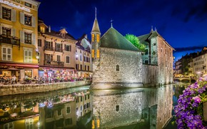 Picture the city, France, home, the evening, lighting, channel, Annecy