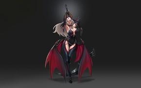 Picture Girl, Fantasy, Art, Style, Illustration, Minimalism, Wings, Bat, Figure, Scythe, Character, Hyungseok Yang