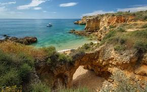 Wallpaper stones, rocks, the sky, the sun, Praia dos Arrifes, boat, sea, sand, beach, coast, the ...