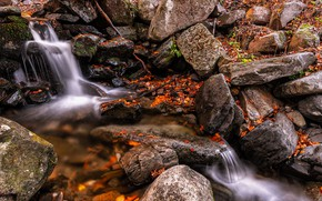 Picture autumn, stones, waterfall, boulders