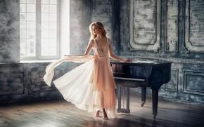 Picture girl, dance, barefoot, dress, piano, window, blonde, barefoot, Anastasia Barmina, Anastasia Barmina