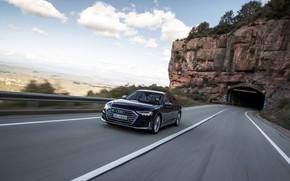 Picture road, blue, rock, Audi, the tunnel, sedan, Audi A8, Audi S8, 2020, 2019, V8 Biturbo