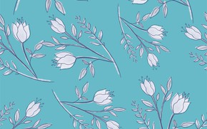 Picture flowers, background, white, seamless