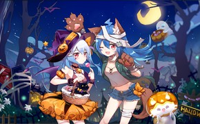 Picture girls, cat, costumes, Halloween