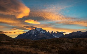 Picture autumn, the sky, clouds, light, mountains, nature, blue, vegetation, tops, Bush, the evening, yellow, Chile, …