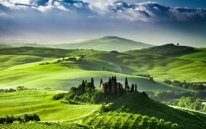 Picture hills, Villa, field, spring, Italy, farm, Tuscany