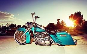 Picture Sunset, Harley-Davidson, Motorbike, Bagger