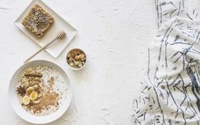 Picture Breakfast, honey, cinnamon, banana, yogurt, Anis, granola