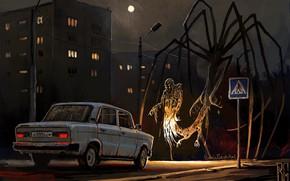 Picture Night, Figure, The city, Machine, The demon, Art, Ghost, Lada, Hello, Lada, Boris Groh, by …