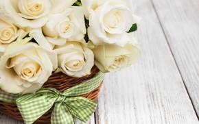Picture table, roses, plan, white, basket, ribbon, large, Olena Rudo