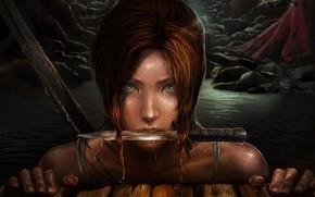 Picture look, girl, face, knife, Tomb Raider, Lara Croft, Tomb Raider