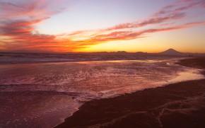 Picture sea, wave, the sky, landscape, mountains, hills, shore, mountain, the volcano, Japan, Fuji, Fuji, the …