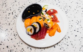 Picture plate, figure, sauce, sushi