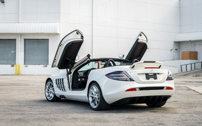 Picture Roadster, White, Supercar, 2009, Wing, Mercedes-Benz SLR McLaren
