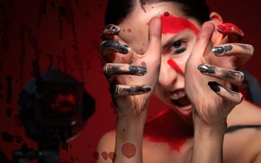 Picture color, girl, face, paint, makeup, fingers, manicure