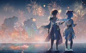 Picture water, the city, girls, fireworks, Xiao, Genshin Impact, Ganyu