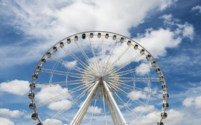 Picture the sky, clouds, wheel, Ferris wheel, carousel, amusement