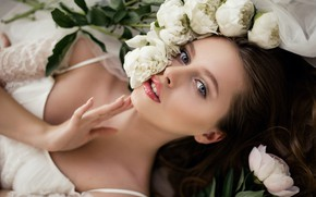 Picture look, girl, flowers, face, hand, neckline, peonies, Natalia Magicka