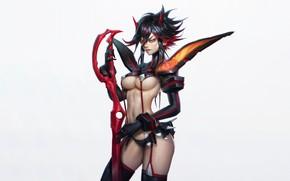 Picture Girl, Fantasy, Art, Devil, Style, Background, Illustration, Weapon, Minimalism, Demon, Ryuu Did Matoi, Character, Zeronis