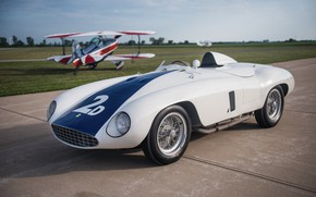 Picture The plane, Biplane, Spokes, Ferrari, Classic, Classic car, 1955, Sports car, Ferrari 750 Monza Spyder