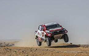 Picture desert, dust, Toyota, pickup, Hilux, jump, 2020, Rally Dakar, 2021, Gazoo Racing