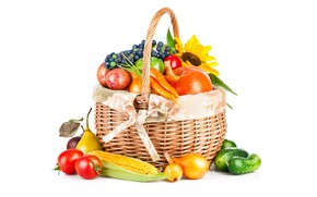 Picture basket, sunflower, corn, bow, grapes, white background, pumpkin, fruit, vegetables, tomatoes, pear, carrots, cucumbers, potatoes