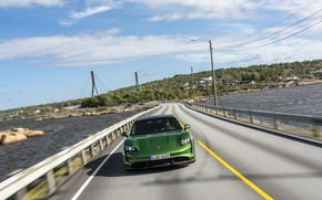 Picture road, Porsche, front view, Turbo S, 2020, Taycan