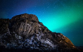 Picture landscape, night, nature, mountain, stars, Northern lights