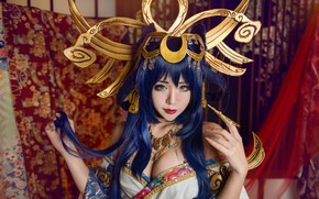 Picture room, blue, style, hairstyle, image, brunette, long-haired, red, hands, claw, bangs, hair, makeup, sorceress, Asian, …