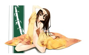 Picture bamboo, girl, kimono, sitting on the floor, the hand on the head, by Kantoku