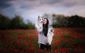 Picture girl, flowers, dog