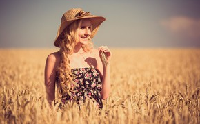 Picture wheat, field, the sun, nature, pose, smile, model, portrait, hat, makeup, dress, hairstyle, blonde, ears, …